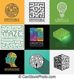 labyrint, opgave, vektor, samling