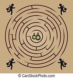 labyrint, penge, løb, -