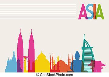 lag, farver, diversity, fil, monumenter, organiser, transparency., berømte, editing., vektor, let, asien, milepæl