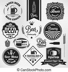 lager, sæt, øl, etiketter, vinhøst