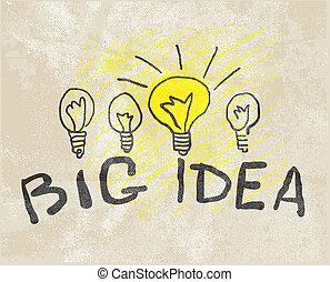 lamp., nyskabende, ide, stor
