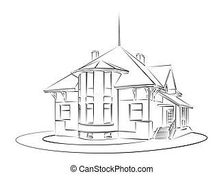 land, skitse, house.