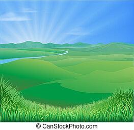 landligt landskab, illustration