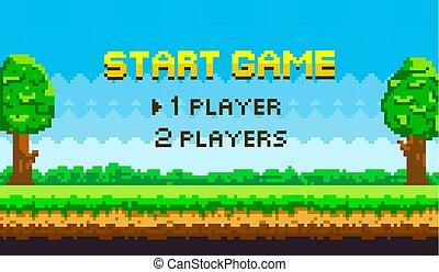 landskab, baggrund, grønne, spillere, boldspil, pixel, græs, start, blå træ, naturlig, himmel