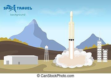 landskab, travel's, arealet, start., spaceship, igangsætning, rocket., industriel, tachnology, cartoon, baggrund, style., concept.