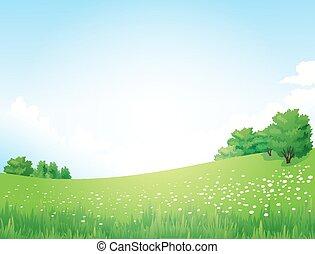 landskab, vektor, grønnes træ