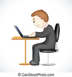 laptop, 3, arbejder, mand