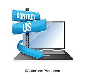 laptop, kontakt os, tegn