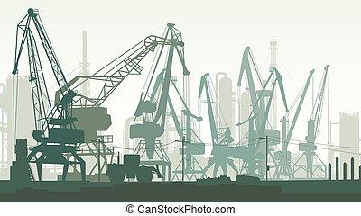 last, illustration havn, tower., horisontale, kran