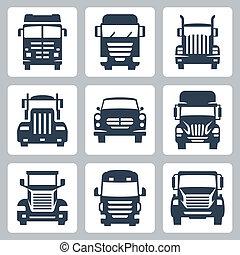 lastbiler, iconerne, isoleret, vektor, forside, set:, udsigter
