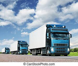 lastbiler, transport, ledsage, hovedkanalen, last, begreb