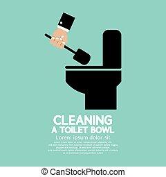 lavatory, bowl., rensning