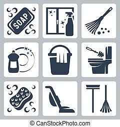 lavatory, sæbe, væske, dishwashing, ren, iconerne, duster, snylte, moppe spand, blive rød i kammen, vindue, vektor, rense klæde, vakuum, set:, lavatory, børste