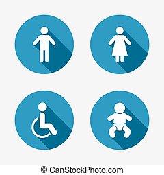 lavatory, wc., kvindelig, icons., menneske, mandlig, eller, signs.