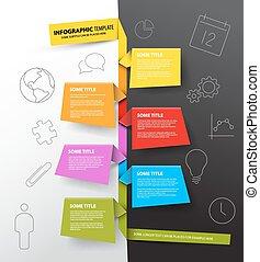 lavede, farverig, timeline, infographic, skabelon, papirer, rapport
