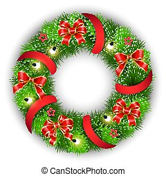 lavede, fyrre, jul, branches, bove, krans