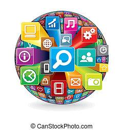 lavede, iconerne, medier, sphere, computer, sociale
