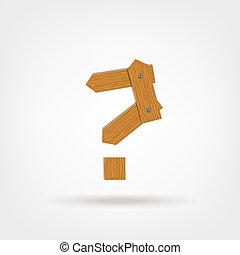 lavede, planker, af træ, spørgsmål marker, konstruktion, din