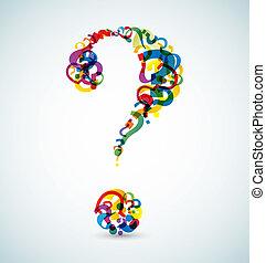 lavede, stor, spørgsmål marker, lille, mærkerne