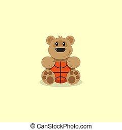 lejlighed, basketball, kunst, bjørn, illustration, cartoon