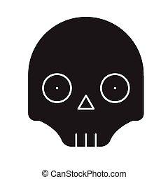 lejlighed, begreb, illustration, tegn, vektor, sort, icon., scull, emoji