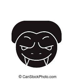 lejlighed, begreb, monstrum, illustration, tegn, vektor, sort, icon., emoji