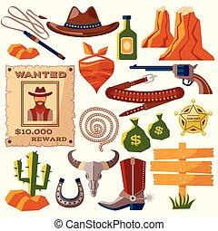 lejlighed, cowboy, iconerne