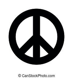 lejlighed, enkel, fred, symbol., tegn, backround, vektor, sort, icon., hvid