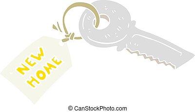 lejlighed, farve, hus, illustration, etiketten, nøgle, nyt hjem, cartoon