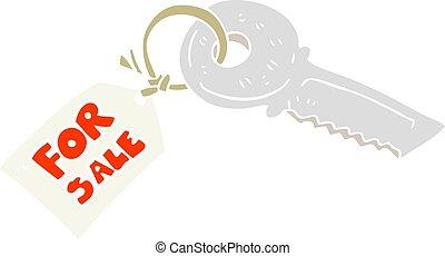 lejlighed, farve, hus, omsætning, illustration, etiketten, nøgle, cartoon