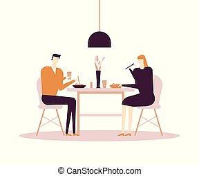 lejlighed, firmanavnet, farverig, familie, -, illustration, middag, konstruktion, har
