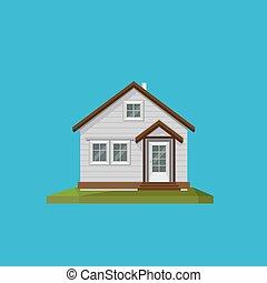 lejlighed, firmanavnet, hus, illustration, polygonal, cartoon