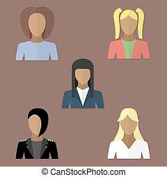 lejlighed, firmanavnet, sæt, avatars, kvinder
