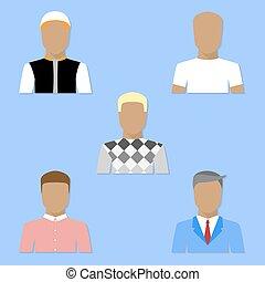 lejlighed, firmanavnet, sæt, avatars, mænd