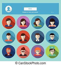 lejlighed, firmanavnet, sæt, iconerne, vektor, kvindelig, ansigter, avatars., mandlig