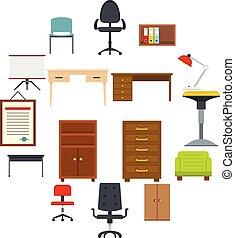 lejlighed, firmanavnet, sæt, ikoner kontor, furniture