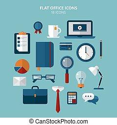 lejlighed, firmanavnet, sæt, ikoner kontor