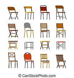 lejlighed, firmanavnet, sæt, stol, kontor