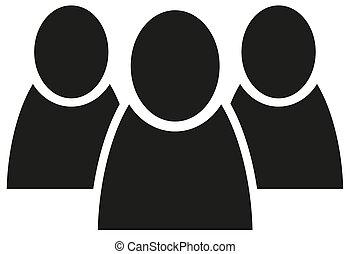 lejlighed, gruppe, folk, vektor, hold, ikon