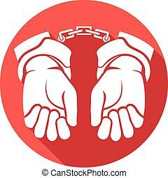 lejlighed, hænder, handcuffs, ikon