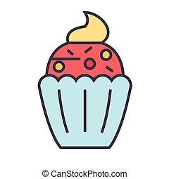lejlighed, icon., lineære, concept., editable, isoleret, illustration, cupcake, vektor, stroke., baggrund, hvid linje