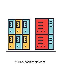 lejlighed, icon., lineære, concept., editable, isoleret, illustration, servers, vektor, stroke., baggrund, hvid linje