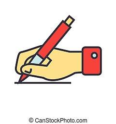 lejlighed, icon., lineære, tegn, concept., editable, isoleret, illustration, hånd, pen, vektor, stroke., baggrund, hvid, skrift, beklæde