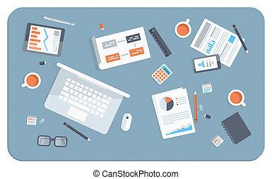 lejlighed, illustration, møde, firma