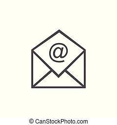 lejlighed, illustration., tegn., email, vektor, brev, ikon, icon., meddelelse, design.