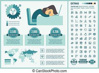 lejlighed, infographic, konstruktion, firma, skabelon
