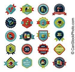 lejlighed, kaffe, eps10, sæt, konstruktion, baggrund, emblem