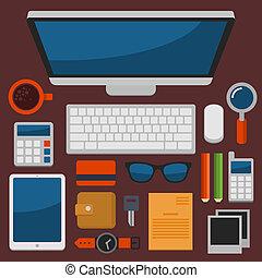 lejlighed, kontor, top, vektor, konstruktion, arbejdspladsen, udsigter
