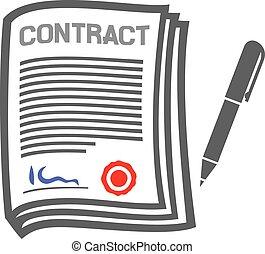 lejlighed, kontrakt, ikon