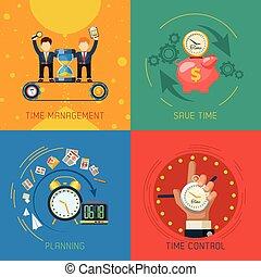 lejlighed, ledelse, iconerne, firkantet, tid, komposition